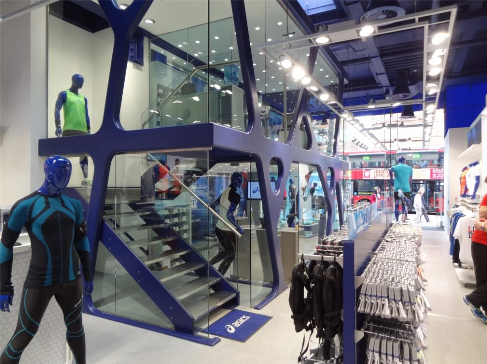 Asics flag ship store staircase commercial bespoke staircases Oxford street London