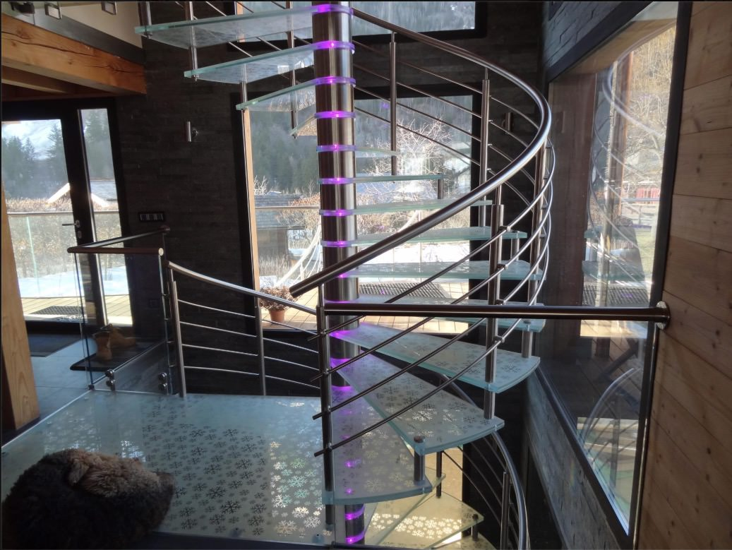 M-tech spiral staircase mood lights changing lights bespoke staircase design Nottingham France