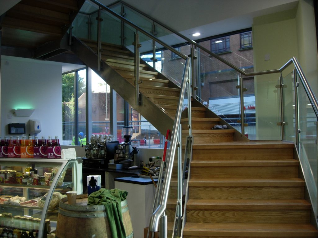 Chandos deli Bristol straight staircase commercial M-tech Engineering